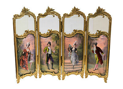 French Ormolu & Hand Painted Enamel 4 Panel Table Screen, 19th Century. Signed