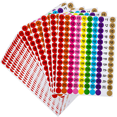 6 Sheets 336 Total Labels 3//4 Inch Round Garage Sale Circle Pricing Stickers
