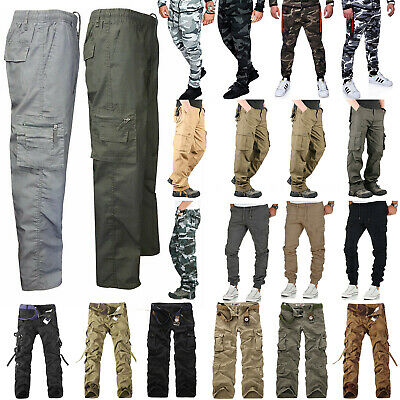 12500243736f5 Men Camo Military Cargo Combat Pants Tactical Joggers Work Hiking Long  Trousers