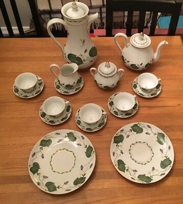 Limoges France Violet Tea and Coffee Service for 5, 2 Dishes (20 piece set)