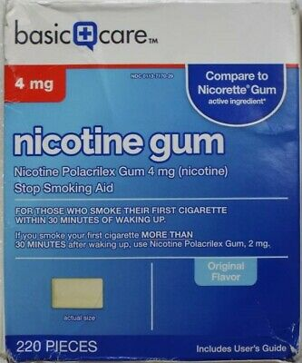 Basic Care Nicotine Gum 4 mg Stop Smoking Support Aid Cool Mint - 160 Pieces