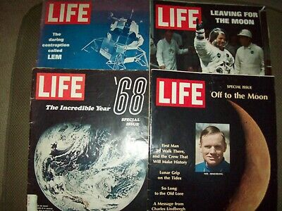 Life Magazine Lot of 4 Space/Moon Landing Issues from 1969
