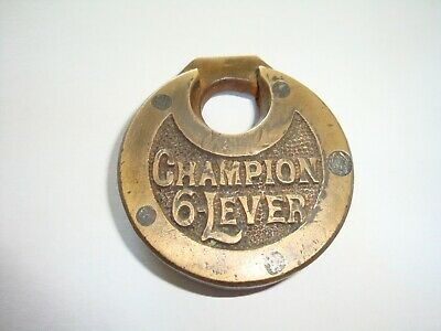 Collectable Antique Vintage Brass Old 'Champion' 6 Lever 'Pancake' Padlock