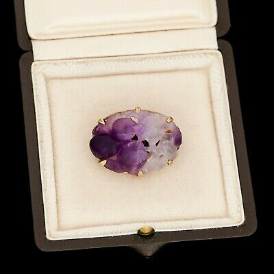 Antique Vintage Deco 18k Yellow Gold Chinese Carved Purple Amethyst Pin Brooch