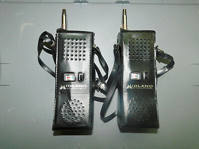 2 Midland Model 13-727 B 3 Channel Hand Held CB w/ Leather Case 1976