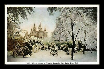Dr Jim Stamps Us Winter Scene Temple Grounds Salt Lake City Utah Postcard