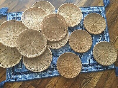 Lot of 14 Vintage Wicker Bamboo Rattan Paper Plate Holders