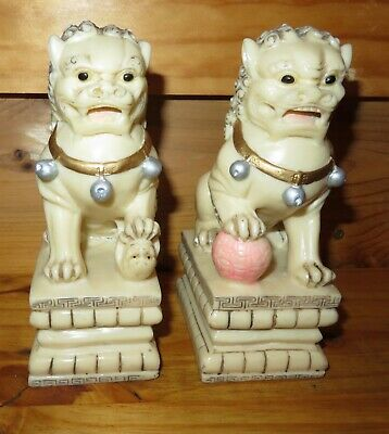 Vintage Asian Foo Fu Dog Figures Statues Bookends Intricately detailed
