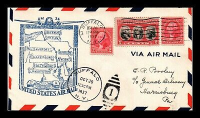 Dr Jim Stamps Us Buffalo New York First Flight Air Mail Cover Am 34 Harrisburg