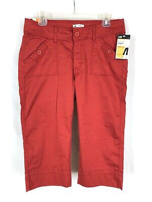 Lee Mid Length Capri Pants 10 M Red Flat Front Pockets Lower On The Waist Summer