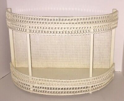Vintage White Wicker Rattan Wall Shelf Table Top Free Standing FREE SHIPPING