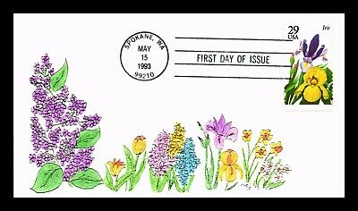 Dr Jim Stamps Us Iris Garden Flowers Hand Colored First Day Cover Spokane