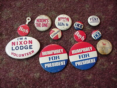 1960 s I'M A NIXON LODGE VOLUNTEER CELLULOID POLITICAL BUTTON + XTRAS IKE & MORE