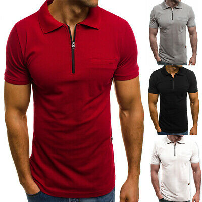 Men's Slim Fit Polo Shirt Short Sleeve Casual Solid Color Golf T-Shirt Tops Tee