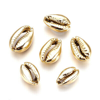 Gold Cowrie Shell Beads Set of 5 4mm Unusual Brass