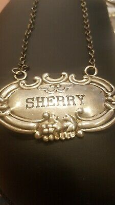 "Vintage Wallace Sterling Silver Decanter Tag label  ""SHERRY"""