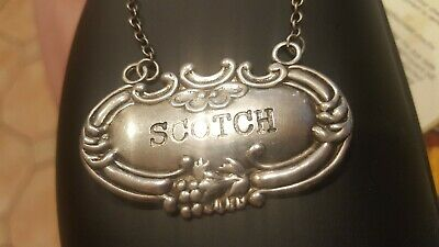 "Vintage Wallace Sterling Silver Decanter Tag label  ""SCOTCH"""