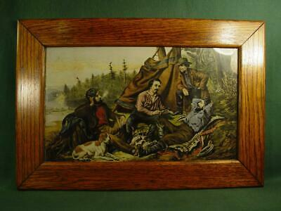 Vintage Antique Mission Oak Arts Crafts Picture Frame 14X21 Old Camping Print