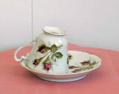 Vintage Norcrest Moss Rose Bone China Teacup & Saucer, Hand Painted circa 1940's