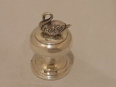 Rare English novelty sterling silver compact with swan pincushion Birm 1910