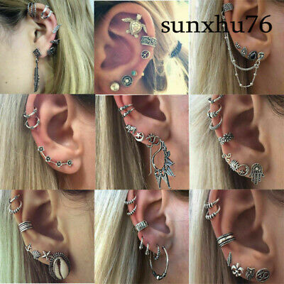 Fashion Fashion's Bohemia Silver Ear Clip Stud Dangle Earrings Set Jewelry Retro