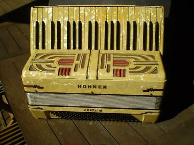 Rare Vintage Hohner Verdi 111 Accordion white pearl finish  Germany & case
