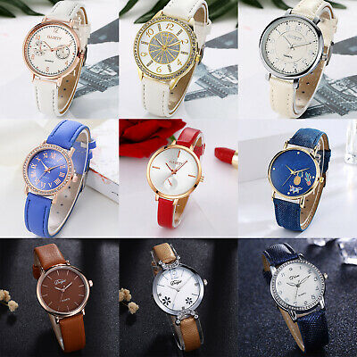 Women Fashion Leather Band Quartz Analog Wristwatch Ladies Casual Dress Watches