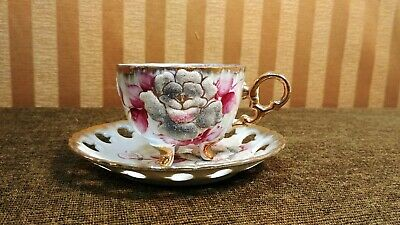 VTG Made in Japan Porcelain Iridized Tea Cup & Saucer Set w/ Raised Sugary Roses