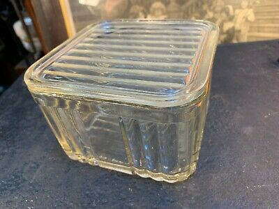Vintage 1930's Australian Art Deco 1lb Ribbed Depression Glass Butter Box 2