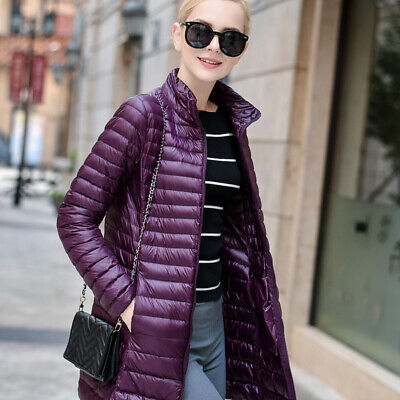 AU Winter Womens Lightweight Warm Long Quilted Padded Puffer Down Jacket
