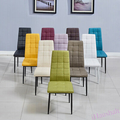 2* Dining Chairs Metal Legs Fabric Cloth Padded Seat Modern Kitchen Furniture