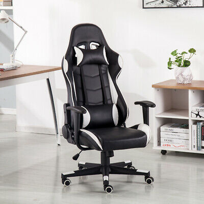 Executive Gaming Chair Office Racing PU Faux Leather Swivel Computer Desk Sports