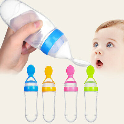 Baby Kid Silicone Squeeze Feeding Bottle With Spoon Food Rice Feeder 90ML Great