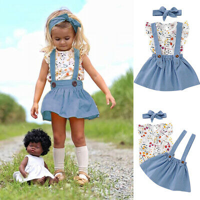 Toddler Kids Baby Girl Tops T-Shirt Suspender Skirt Dress 3Pcs Outfit Clothes