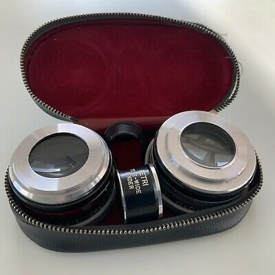 Petri Aux 45mm 1:1.9 Wide Angle Tele Wide And Telephoto Lens Set Kit In Case