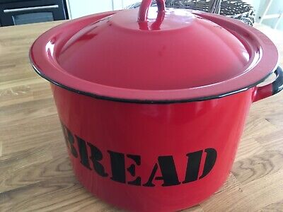 Vintage Retro Polish Enamel Bread Bin in Red