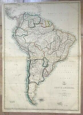 SOUTH AMERICA 1863 by T. ETTLING LARGE DETAILED ANTIQUE ENGRAVED MAP (45 x 63 cm