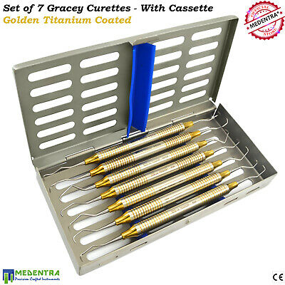 Branded Gracey Curettes Golden Coated Periodontal Dental 7Pcs Set With Cassette