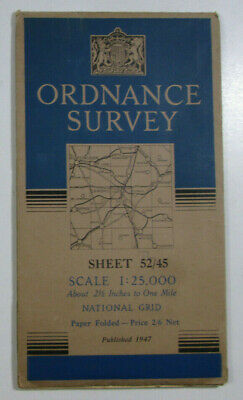 1947 Old OS Ordnance Survey 1:25000 First Series Map TL 45 Cambridge 52/45