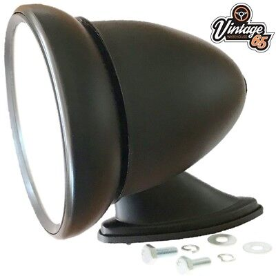 Kit Car Hot Rod Retro Bullet Style Black Adjustable Flat Glass Wing Door Mirror