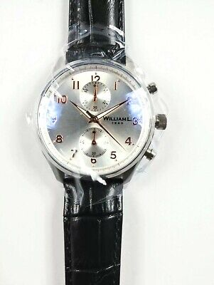 2b1aaccad William L 1985 Mens Vintage Chronograph Watch Genuine Black Leather Band