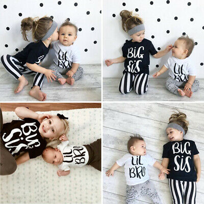 Newborn kid Boy Girl Romper Bodysuit Big Sis/Lil Bro Matching Cotton T-shirt Top