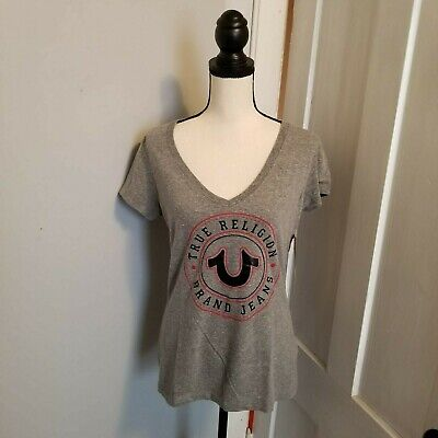 9c3e5d5b3b56 True Religion Womens Graphic Logo Tee Size M Or L Gray Black V-Neck Short