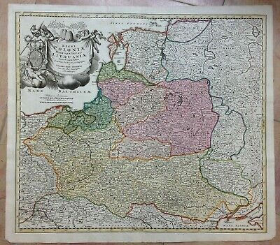 POLAND LITHUANIA JB HOMANN c 1720 LARGE UNUSUAL ANTIQUE ENGRAVED MAP 18e CENTURY
