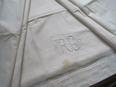 Large Unused White French Linen Metis Sheet Or Curtain, Tablecloth, Bedding