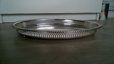 Vintage Oval 3 footed  decorative WMF Ikor 6291 Silver plated Serving Tray