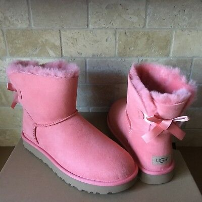 ce175d1c4a5 UGG MINI BAILEY Bow Stripe Seal Suede Sheepskin Ankle Boots Size Us ...