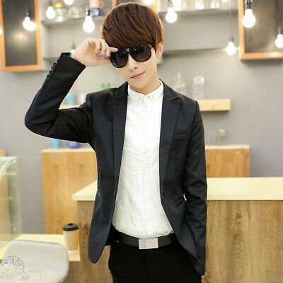 Mens Boys Teenager British One button Slim fit Jackets Coats Party Casual Blazer