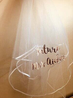 Personalised hen party veil white novelty future mrs gift favour accessory bride