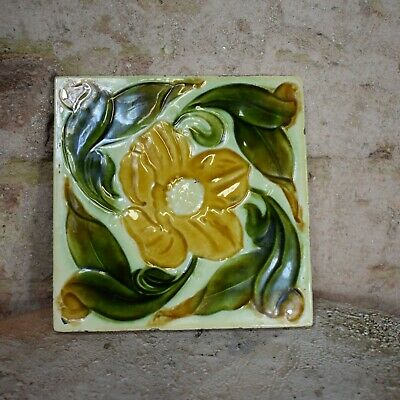 Antique Victorian Original Art Nouveau Majolica Tile Wall Minton Style Flower